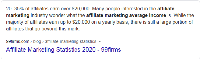Affiliate Marketing average earning