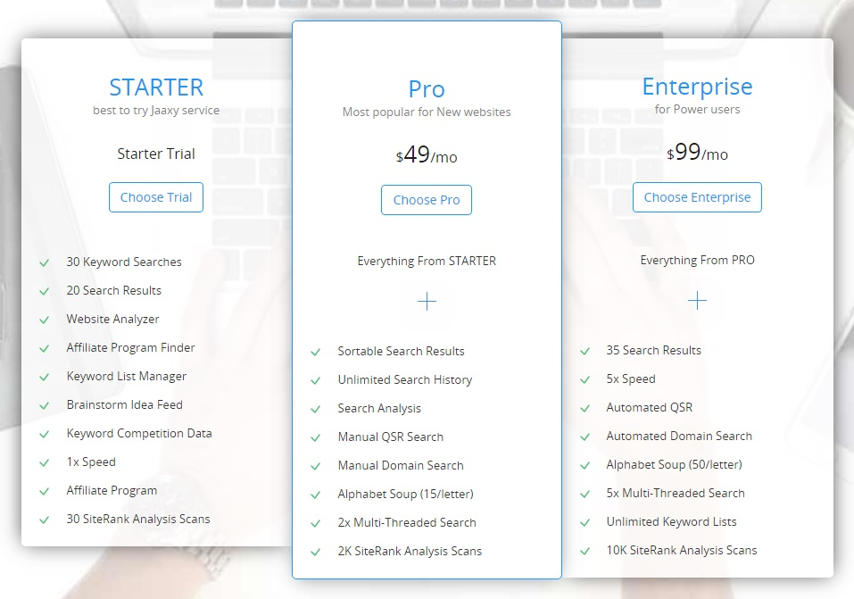 Jaaxy Pricing Table