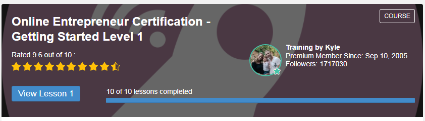Online Entrepreneur Certification - Getting Started Level 1