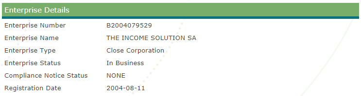 Tissa Company Registration Details